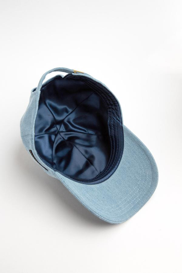 Light Denim Satin-Lined Baseball Hat