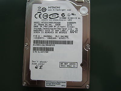 "Hitachi 0A28841 DA1982 HTS541660J9SA00 60GB  2.5"" SATA HDD"