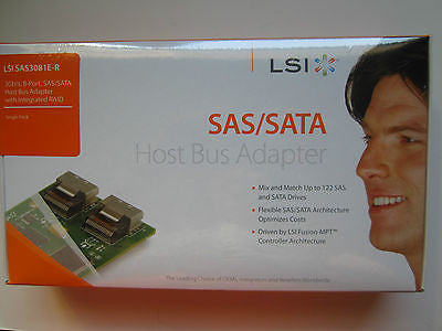 BRAND NEW LSI SAS3081E-R LSI00182 3Gb/s, 8-Port, SAS/SATA Host Bus Adapter