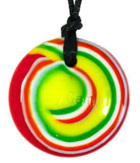 Rainbow swirl Rock'n'Roll disc pendant