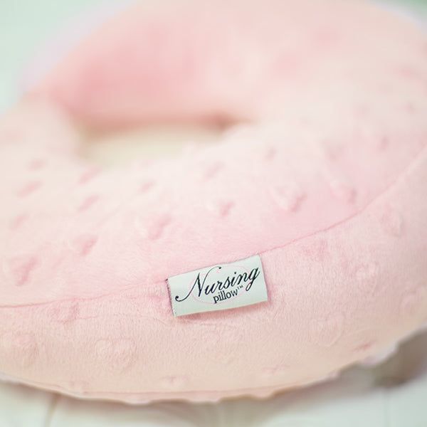 Nursing Pillow - Pink Hearts Minky