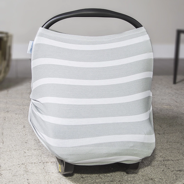 Carseat Canopy - Gray Stripes Stretch Canopy