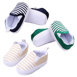 Little Wanderers - Striped Canvas Baby Slip-ons