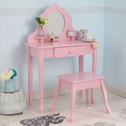 KidKraft Medium Diva Table & Stool- Pink - 13023 -  Kid Kraft Pretend Play - Nurzery.com