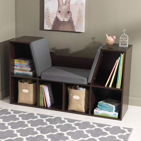 KidKraft Bookcase with Reading Nook - Espresso - 14231 -  Kid Kraft Pretend Play - Nurzery.com