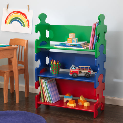 KidKraft Puzzle Book Shelf - Primary - 14400 -  Kid Kraft Pretend Play - Nurzery.com