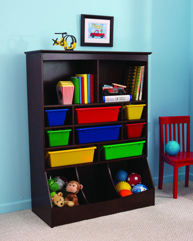 KidKraft Wall Storage Unit Espresso with plastic bins - 14982 -  Kid Kraft Pretend Play - Nurzery.com