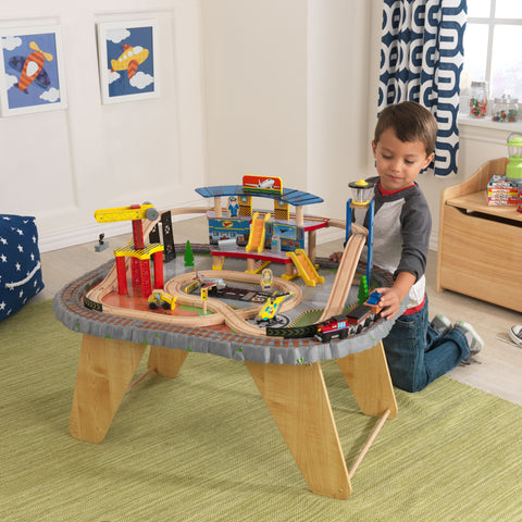 KidKraft Transportation Station Train Set & Table - 17564 -  Kid Kraft Pretend Play - Nurzery.com - 1
