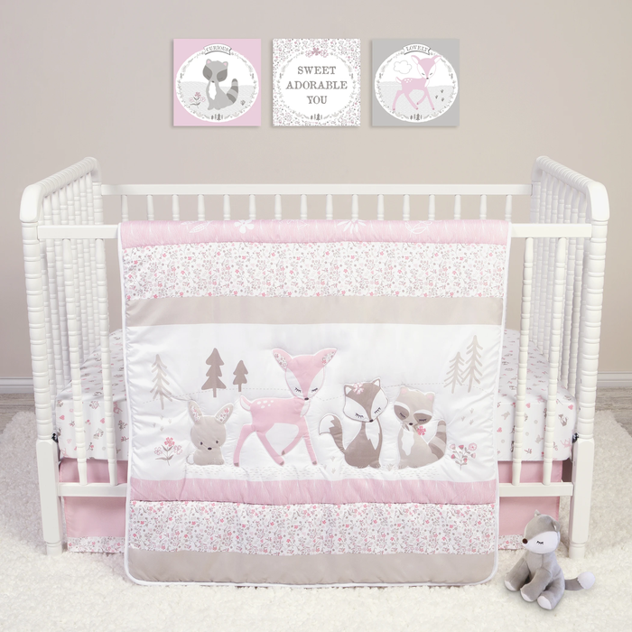 Sammy & Lou® - Sweet Forest Friends - 4 Piece Crib Bedding Set