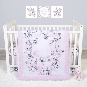 Sammy & Lou® - Simply Floral - 4 Piece Crib Bedding Set
