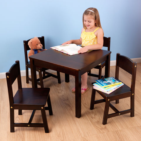KidKraft Farmhouse Table & 4 Chairs Espresso - 21453 -  Kid Kraft Pretend Play - Nurzery.com