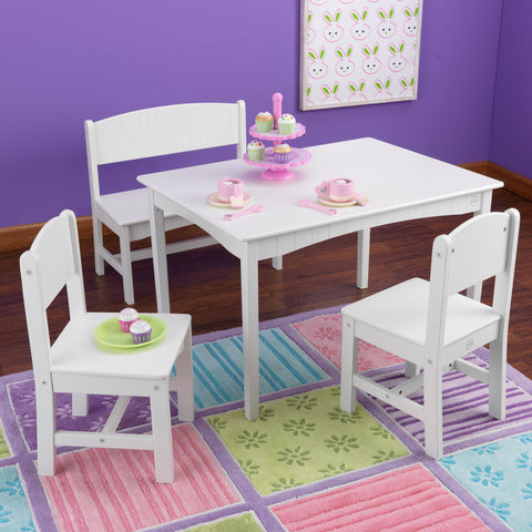 KidKraft Nantucket Table with Bench and 2 Chairs - 26110 -  Kid Kraft Pretend Play - Nurzery.com