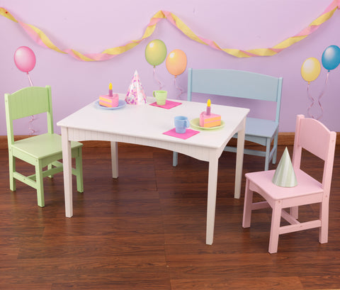 KidKraft Nantucket Table with Bench and 2 Chairs - Pastel - 26112 -  Kid Kraft Pretend Play - Nurzery.com