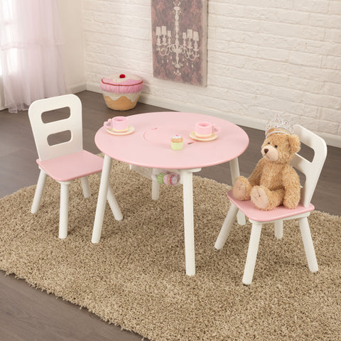 KidKraft Round Storage Table & Chair Set - White & Pink - 26165 -  Kid Kraft Pretend Play - Nurzery.com