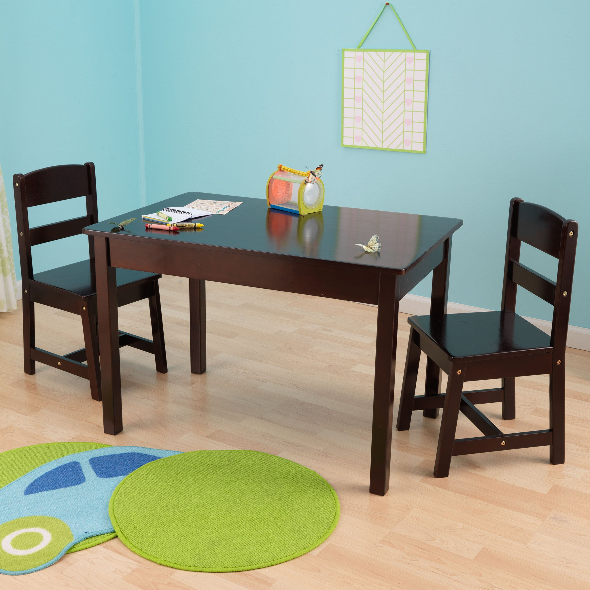 KidKraft Rectangle Table & 2 Chair Set- Espresso - 26680 – Nurzery.com