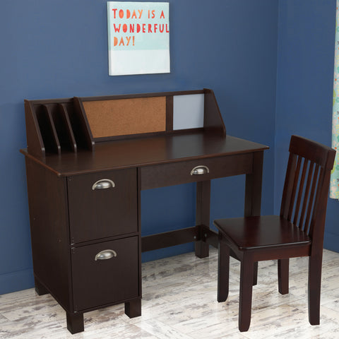 KidKraft Study Desk with Drawers - Espresso - 26703 -  Kid Kraft Pretend Play - Nurzery.com
