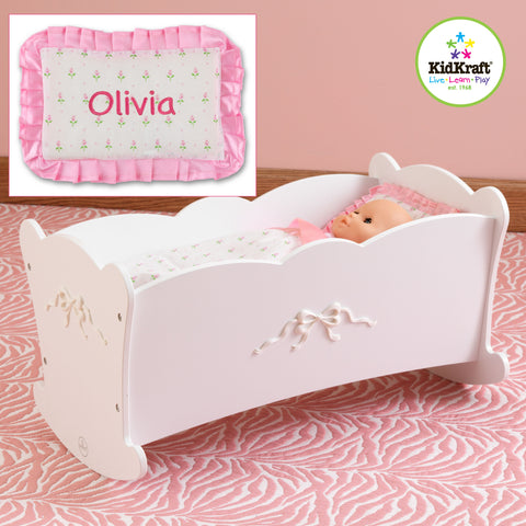 KidKraft Tiffany Bow Lil' Doll Cradle with bedding (accommodates American Girl®Dolls) - 60111 -  Kid Kraft Pretend Play - Nurzery.com - 1
