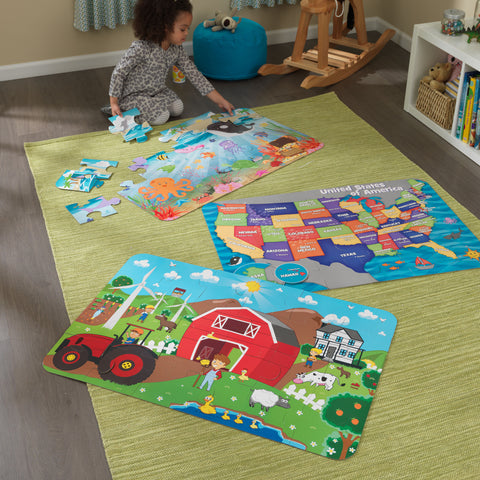 KidKraft Floor Puzzle – Farm - 63436 -  Kid Kraft Pretend Play - Nurzery.com - 1