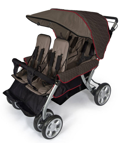 Foundations Quad Lx 4-Passenger Stroller Taupe/Red - 4140167 -  Foundations Strollers - Nurzery.com