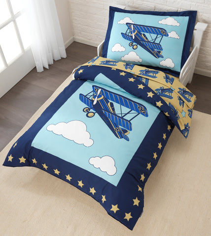 KidKraft Airplane Toddler Bedding 4 pc Set  - 77010 -  Kid Kraft Pretend Play - Nurzery.com