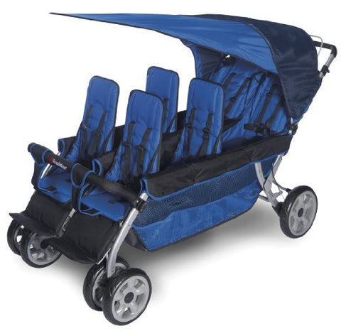 Foundations LX6 6-Child Stroller Regatta Blue - 4160037 -  Foundations Strollers - Nurzery.com - 1