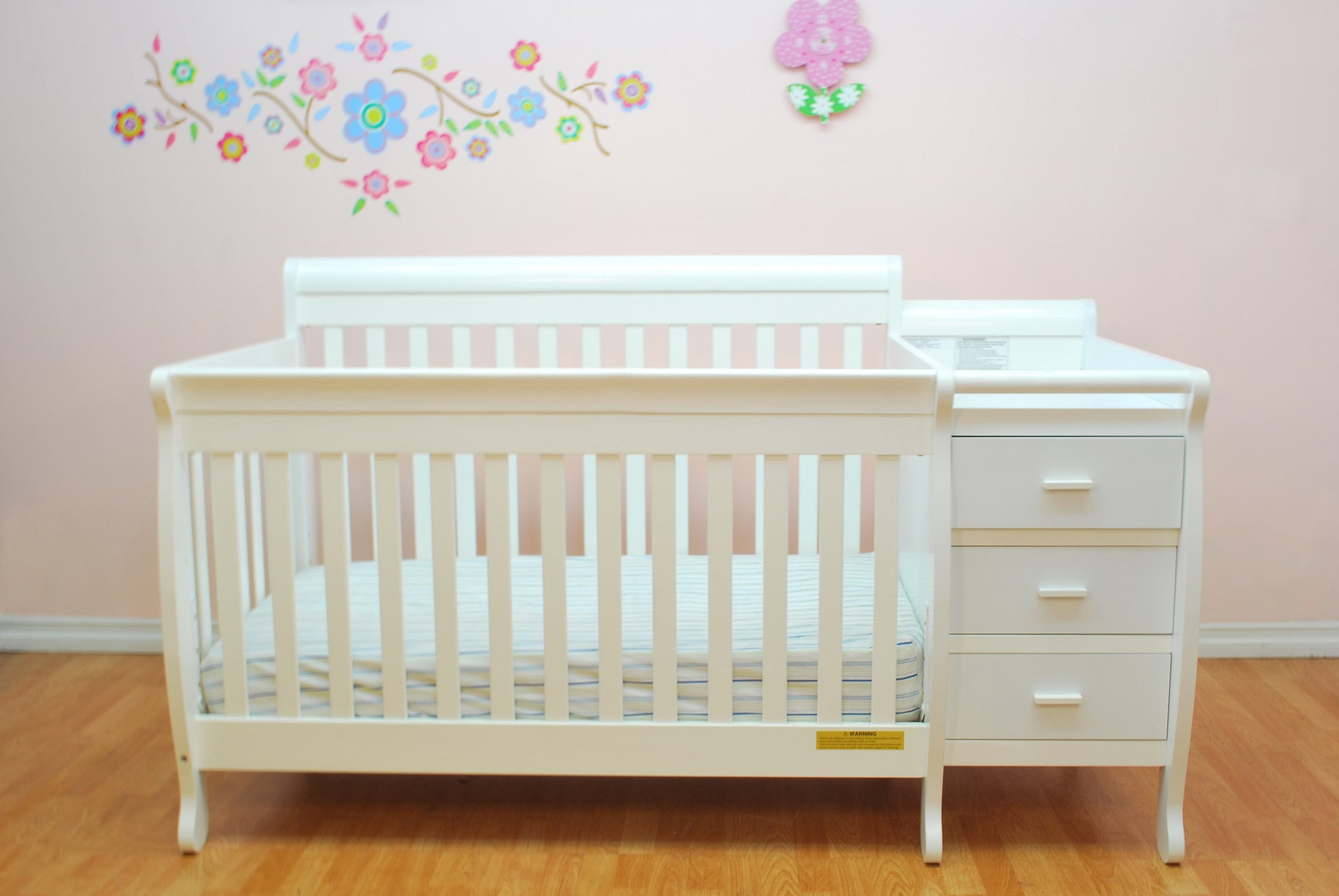 ... AFG Kimberly 4 In 1 Convertible Crib And Changer Combo   518   White ...