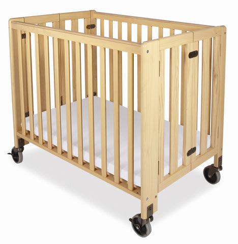 Foundations Hideaway Compact Folding Crib with Mattress Natural - 1011042 -  Foundations All Cribs - Nurzery.com - 1