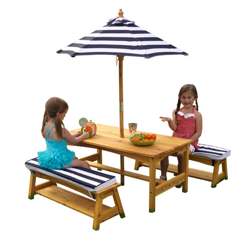 KidKraft Outdoor Table & Bench Set w/ Cushions/Umbrella - 00106 -  Kid Kraft Pretend Play - Nurzery.com - 1