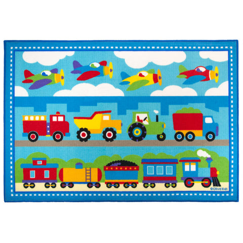 Olive Kids Trains, Planes, Trucks 31.5x45 in. Rug - 683410 -  Olive Kids Rugs - Nurzery.com