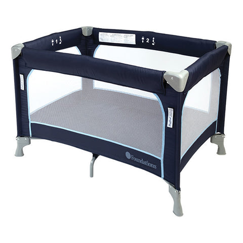Foundations SleepFresh Celebrity Portable Crib Pack and Play 1456037 - Regatta Blue Foundations Play Yard - Nurzery.com - 1
