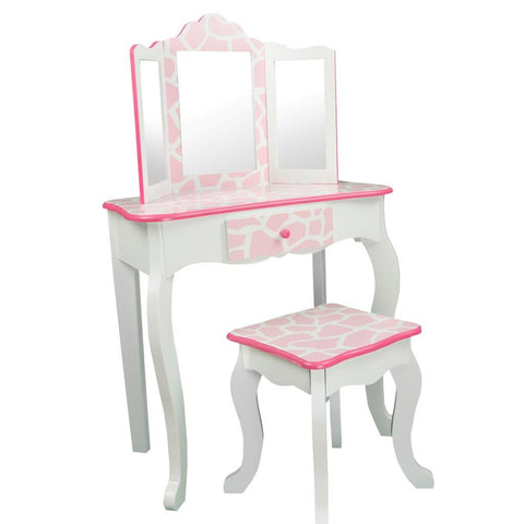 Teamson Kids -Fashion Prints Vanity & Stool Set with Mirror - Giraffe (Baby Pink / White)-TD-11670D -  Teamson Kids Vanity Table & Stool Set - Nurzery.com - 1