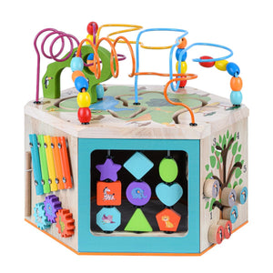 Teamson Kids - Preschool Play Lab 7-in-1 Large Wooden Activity Station