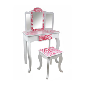 Teamson Kids - Zebra Vanity Table & Stool Set-TD-11670B -  Teamson Kids Table & Chair Sets - Nurzery.com - 1
