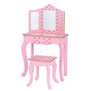 Teamson Kids - Fashion Polka Dot Prints Gisele Play Vanity Set - Pink/Rose Gold
