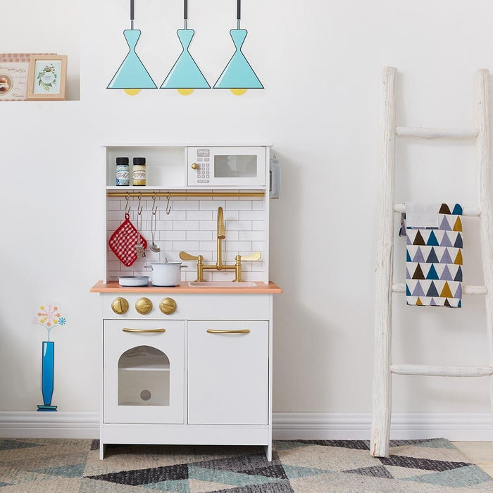 Teamson Kids - Little Chef Boston Modern Play Kitchen (White/Wood) - TD-12679C