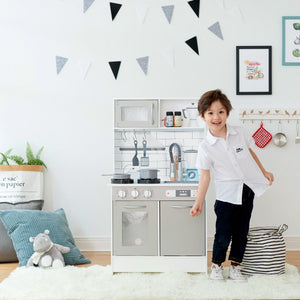 Teamson Kids - Little Chef Valencia Classic Play Kitchen (Gray) - TD-12913G