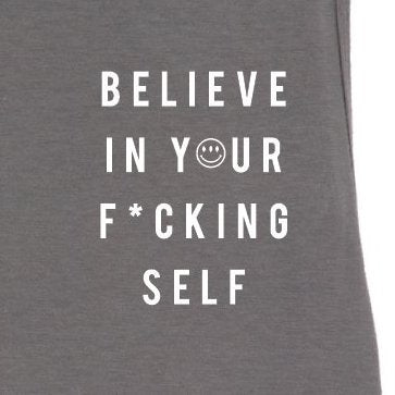 Luciana Believe in Your F*cking Self Muscle Tank  Grey