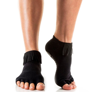 Arebesk Fringe Open Toe Grip Sock Black