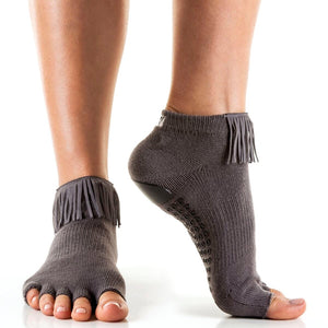 Arebesk Fringe Open Toe Grip Sock Grey