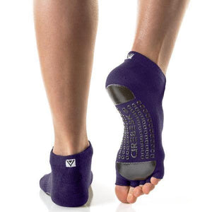 Arebesk Fishnet Open Toe Grip Socks - Purple Black