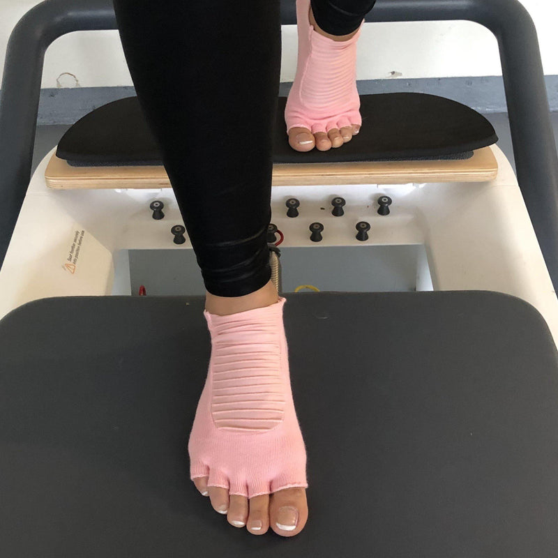 Arebesk Moto Open Toe Grip Socks - Light Pink