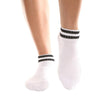 Barre Socks Basically a Ballerina Crew Ankle Black White