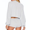 Beach Riot Crop Silver Sweater