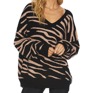 Beach Riot Joey Sweater Warm Taupe Zebra
