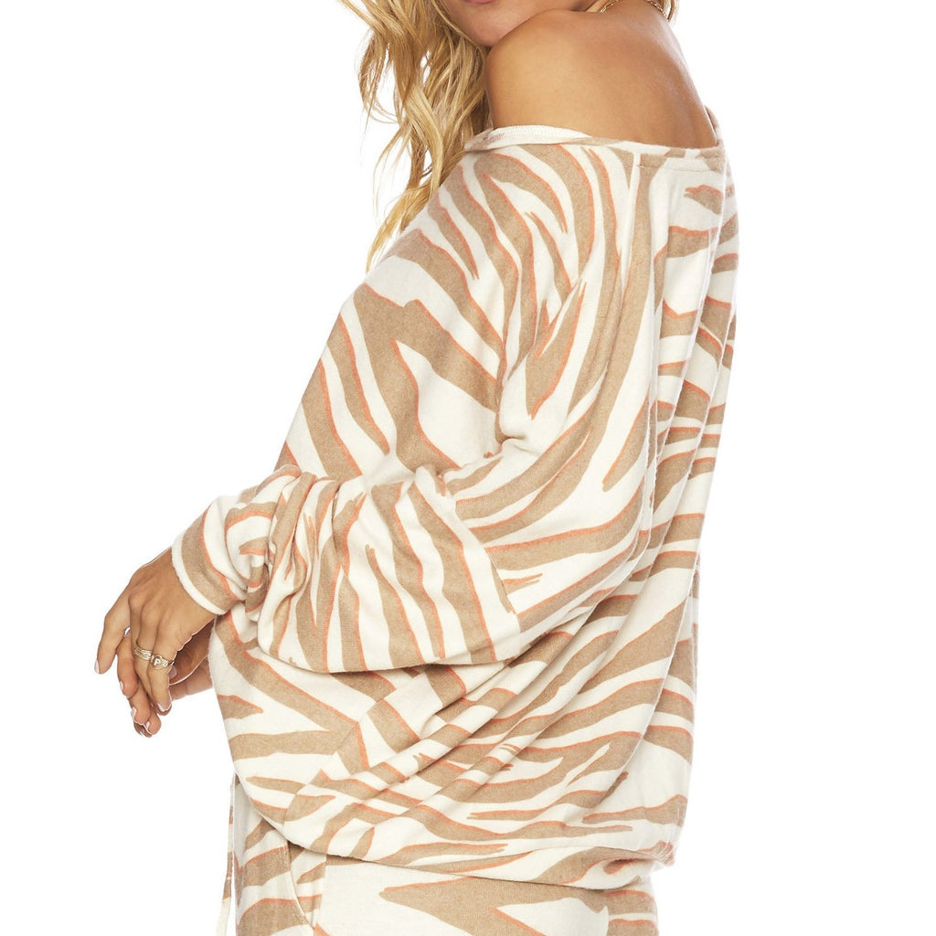 Beach Riot Sofia Sweater Cloud Cream Zebra Print