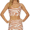 Beach Riot Leah Top Cloud Cream Zebra Print