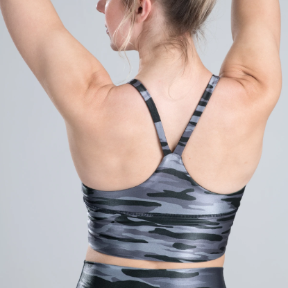DYI V-Neck  Elevate Bra High Shine Sharkskin Camo