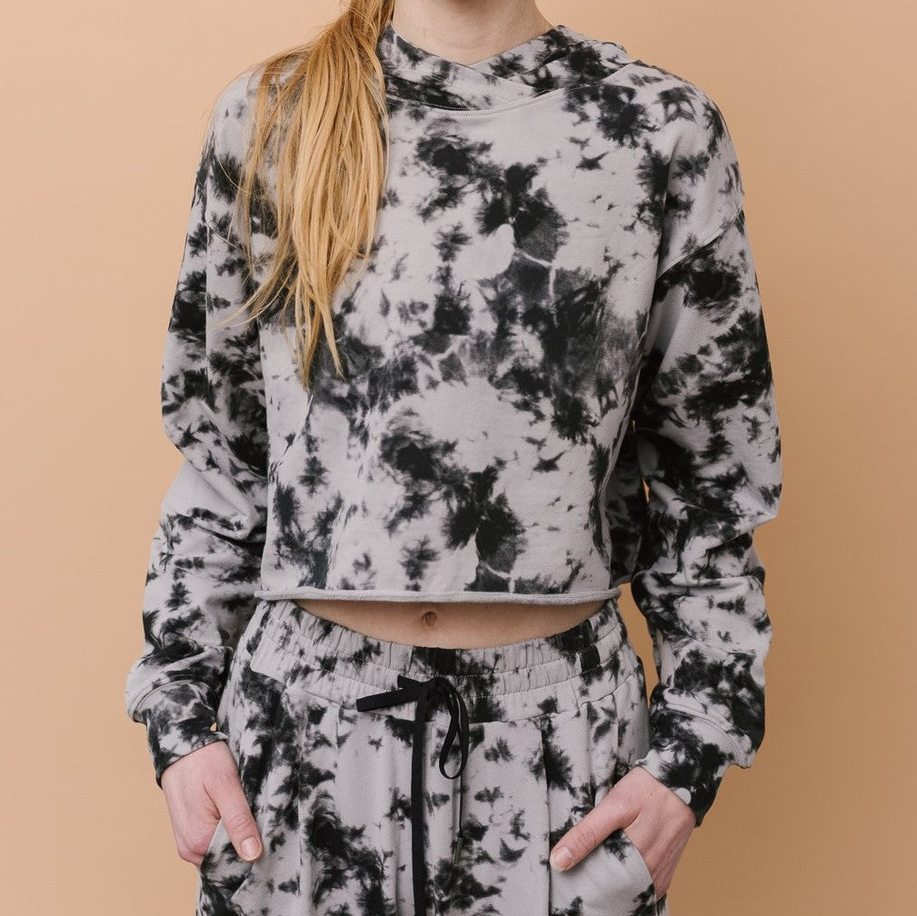 DYI Crop Hoodie Black Photo Tie Dye