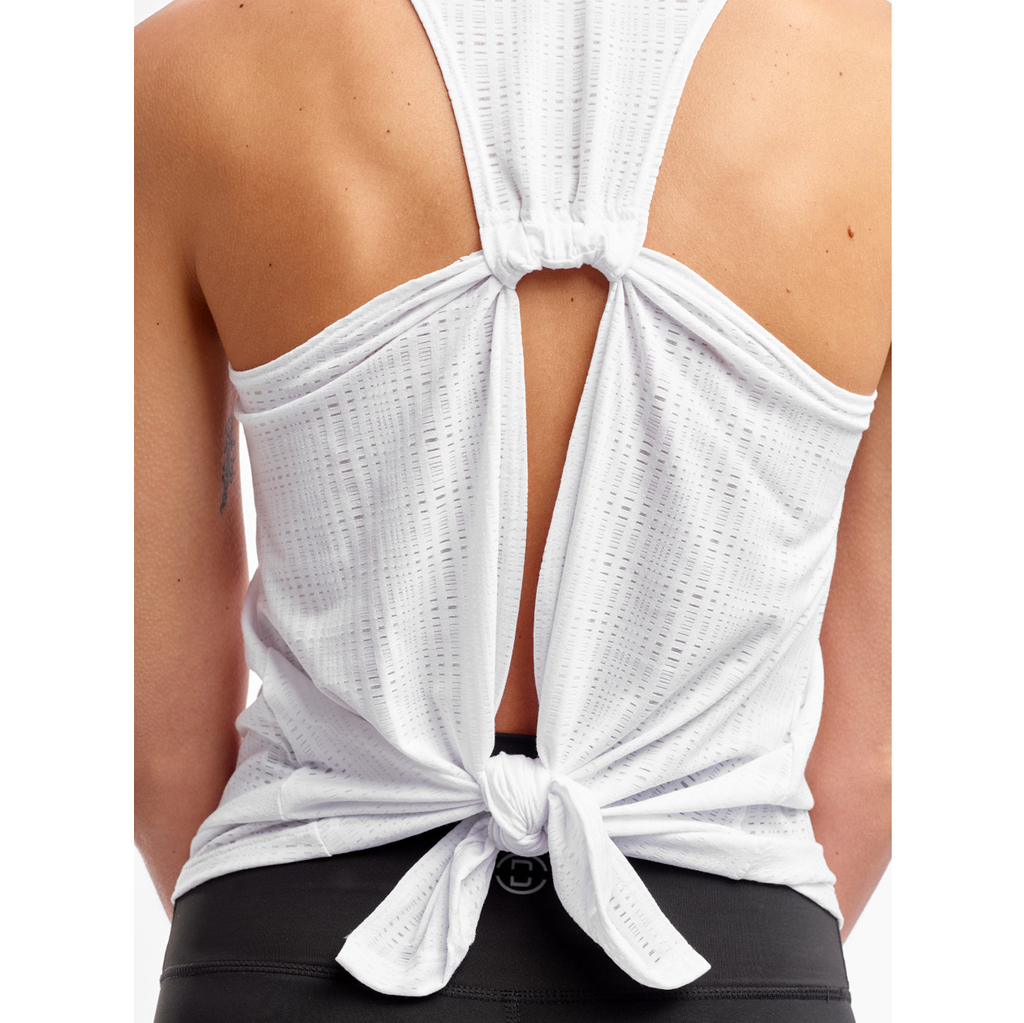 DYI tie back tank white burnout