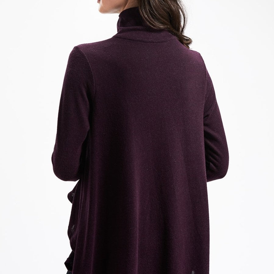 DYI Mock Turtleneck Cape Heathered Burgundy